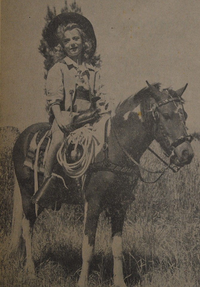 August 1, 1947 — Miss Nancy Jane Brownlee, daughter of Mr. and Mrs. Ray Brownlee, Hood River, will reign at the annual rodeo here August 16-17. Photo by Wilson.