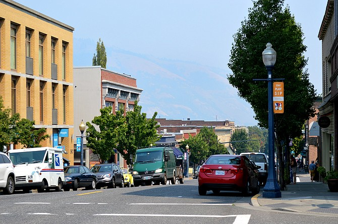 SMOKE can be seen from downtown Hood River Wednesday.