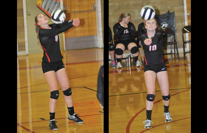 Dufur Ranger volleyball players, from left to right, Kalie Ellis and Chloe Beeson are expected to be back in action this fall for volleyball play under first-year head coach Kristin Whitley. The former all-league athlete, out of Sherman High School, steps into a successful Dufur program that has won four state championships.