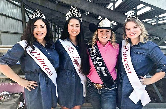 Miss Toppenish Junior Rodeo Queen Mikenzye Alley of Benton City, third from left is pictured with the Miss Toppenish court. Saturday, Alley will be coaching this year's rodeo candidates (not pictured) Francys Wells, Brandi Vance, Kylee Theobald, Lexie Hagins and Koral Smartlowit.