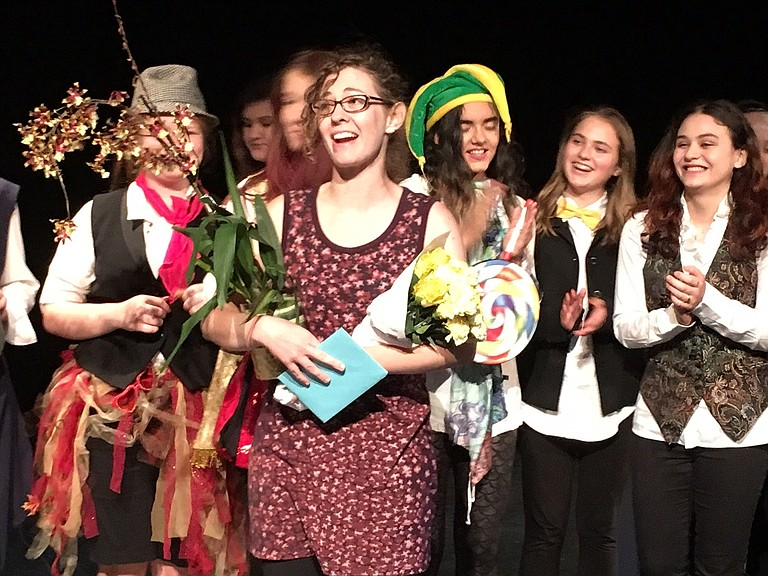 """SULLIVAN Mackintosh, with her """"Twelfth Night"""" cast, accepts the Judie Hanel Award at the Columbia Center for the Arts."""
