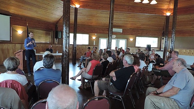 CITIZENS from around Hood River County attended Sunday's town hall at the Port Pavilion.
