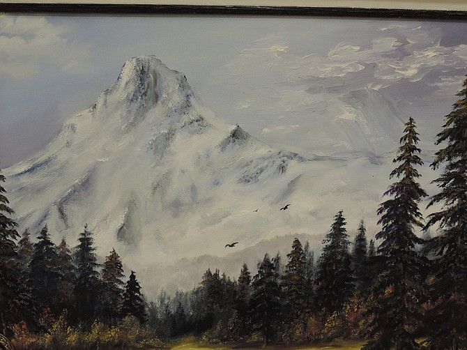 Mary Smith's blue ribbon oil painting of Mount Hood.
