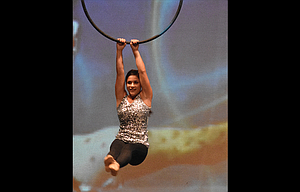 Jessika Nañez of The Dalles, winner of Oregon's Distinguished Young Woman scholarship program, held Aug. 5 in Salem, is pictured in the fitness portion of the program.