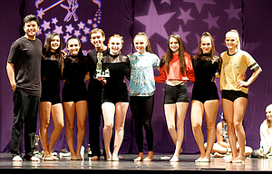 Members of the Dance Club Academy's accelerated advanced division, are, left to right: Aidan Telles, Sophia Pullen, Anna Singhurst, Evan Despain, Abbey Helseth, Jordyn Hattenhauer, Ella Morgan, Giselle Schwartz, and Kendyl Kumm.