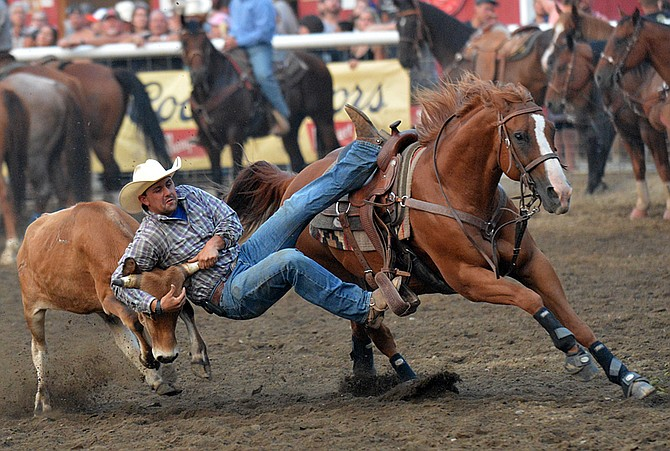 Blaine Jones of Templeton, Calif., competes in steer wrestling at Friday night's performance of the Omak Stampede Rodeo.