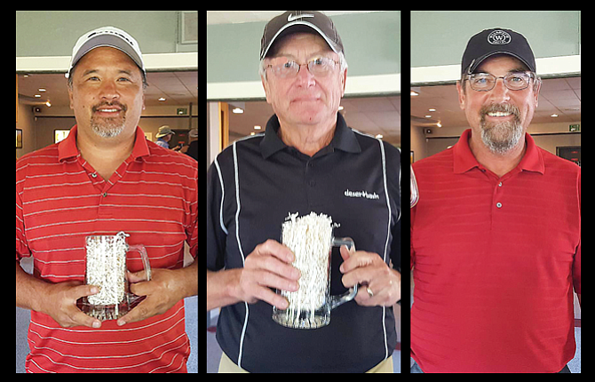 Local golfers, pictured from left to right, Dan Telles, Terry Way and Ted Proctor each participated in The Dalles Country Club Championship ending this pastSunday. Telles won the club title, Way was the net champion and Proctor earned senior club championship honors.