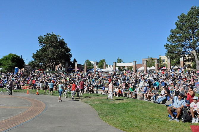 The crowd at Riverview Park views the eclipse on Aug. 21.