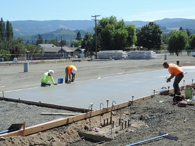 Construction continues at both middle schools in the Hood River County School District as Kirby Naglehout Construction crews and sub-contractors work to prepare the heavily remodeled buildings for school reopening Sept. 5.
