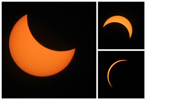 Eclipse 2017 - Different phases of Monday's Aug. 21 solar eclipse viewed between 9:12 and 10:30 a.m.
