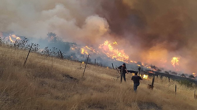 A fire that sprang up shortly before 6 p.m. Tuesday night burned an old orchard. As night fell, the fire was visible from across the Camas Prairie.