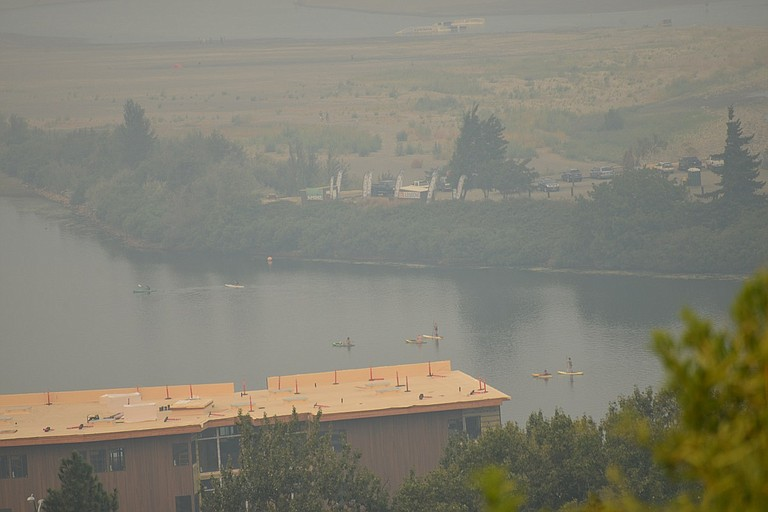 VISIBILITY over downtown Hood River on Tuesday: murky mid-day skies in the past week have been the reality, and a potentially hazardous one.