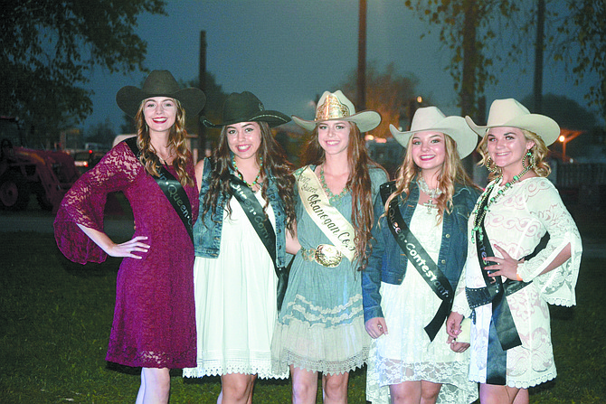 Fair Queen Cora Diehl (center) is flanked by this year's fair royalty (from left) Samantha Whitney, Jennah Thomason, Shiann McCallum and Shelby White. The new queen will be crowned at 2 p.m. Sunday, Sept. 10 on the fair stage.