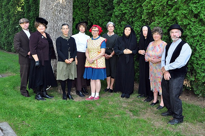 CEMETERY TALES actors, from left: Jarren Seal, Barb Hosford, Barb Berry, Margaret Crowell,  Kathy Peldyak, Ann Zuehlke, Kelly Sullivan, Bonnie Withers, Jean Harmon, and Richard Withers. Not pictured: Kathy Akiyama.