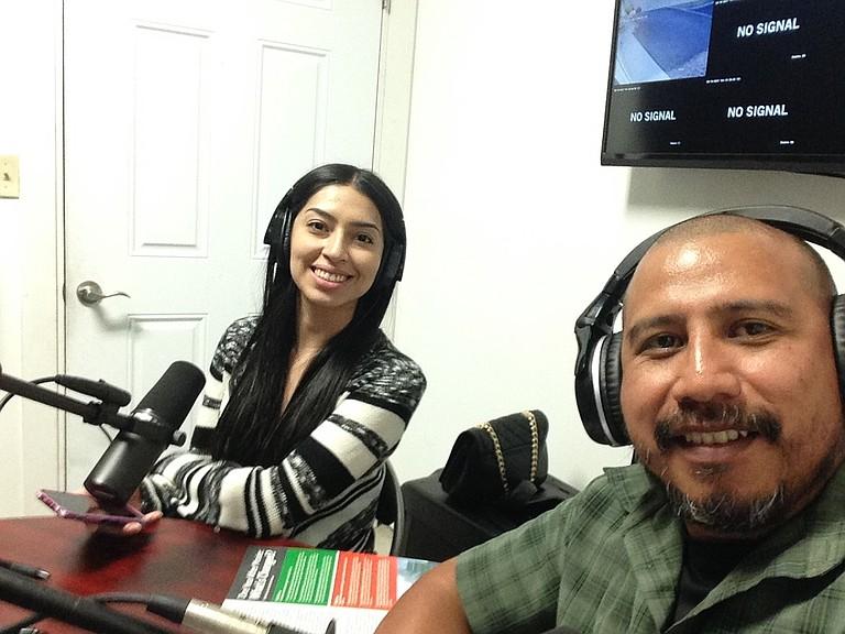 Columbia Riverkeeper's Community Organizer Ubaldo Hernández and volunteer Karina Funez, record a show on Radio Tierra.