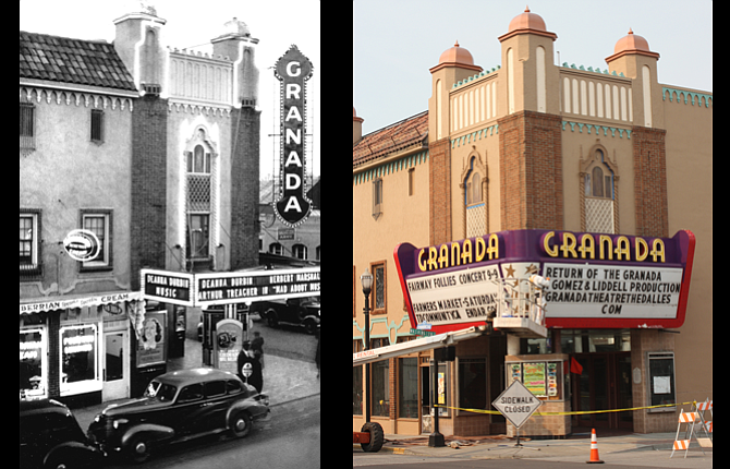 At left is The Granada Theater as it appeared in 1938. At right, Hector Valdez paints the marquee at the Granada Theater as  extensive renovation work nears completion.
