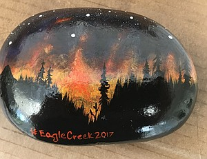 REALISTIC SCENE depicted on a #EagleCreek2017 rock available for purchase at Parkhurst Place Sept. 27.