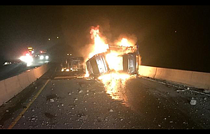 The driver of a van was killed Monday night when it collided head on with a semi truck on Interstate 84 east of Arlington.