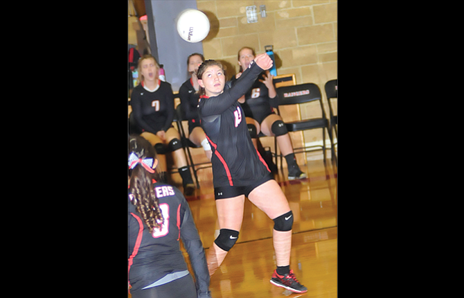 Dufur Ranger setter Trinity Blake bumps a return volley over the net in a recent game at Dufur High School. Tuesday, the Rangers beat Klickitat, Wash. in three sets.