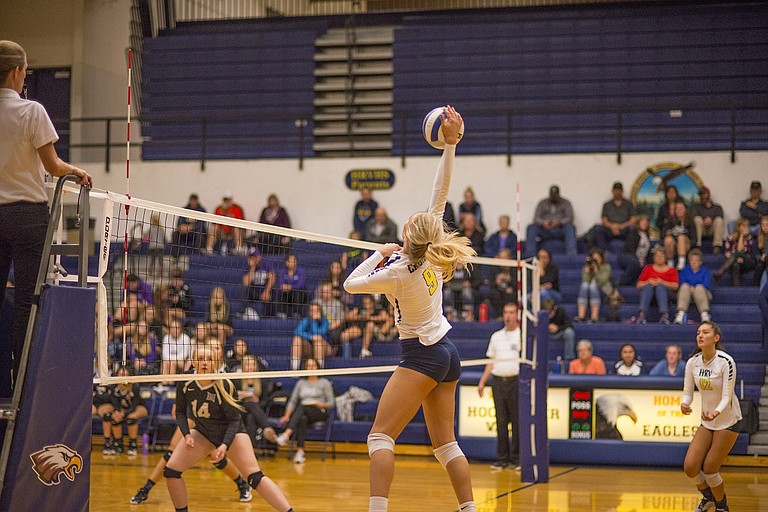 Katie Kennedy ended the night with five kills against Hermiston.
