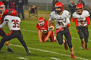 Prairie's Nick Mager found room to run on this return, which set up the pass he caught for a touchdown from Damian McWilliams later in the first quarter of a 64-28 PHS win Friday night, Sept. 22, at Clearwater Valley.