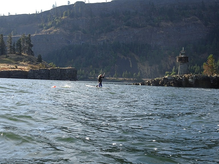ATHLETES with the Columbia Gorge Triathlon Club were on the north side of Chicken Charlie Island making their way from Mosier to Hood River when the gunfire began. Dawn Rasmussen snapped this photo of Angela Krause on a paddleboard watching over swimmer Toni Hecksel on Sunday just before shots started ringing out.