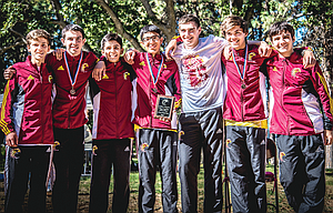 The Dalles cross country boys' squad picked up first place, one week after a second-place outcome in Oregon City. In the photo are, from left to right, Friedrick Stelzer, Michael Lantz, Sam Alvarez, Rey Aviluz, Jonathon Knotts, Gabe Lira and Zerin Croover. Lira, a junior, who set a personal record of 16 minutes and 48.6 seconds on Sept. 16, ended up with a final mark of 17:37.4 to take hold of third place in the 85-person field.