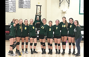 South Wasco volleyball players had a 4-0 record on its way to a second consecutive tournament title at the Redside Invitational this weekend in Maupin. The players are, from left to right, Emily Ellis, Jacqueline Noland, Kyrsten Sprouse, Ana Popchock, Laurynn Davis, Jenna Wraught, MadisenDavis, Jada Myers, Allie Noland and Reese Millis.
