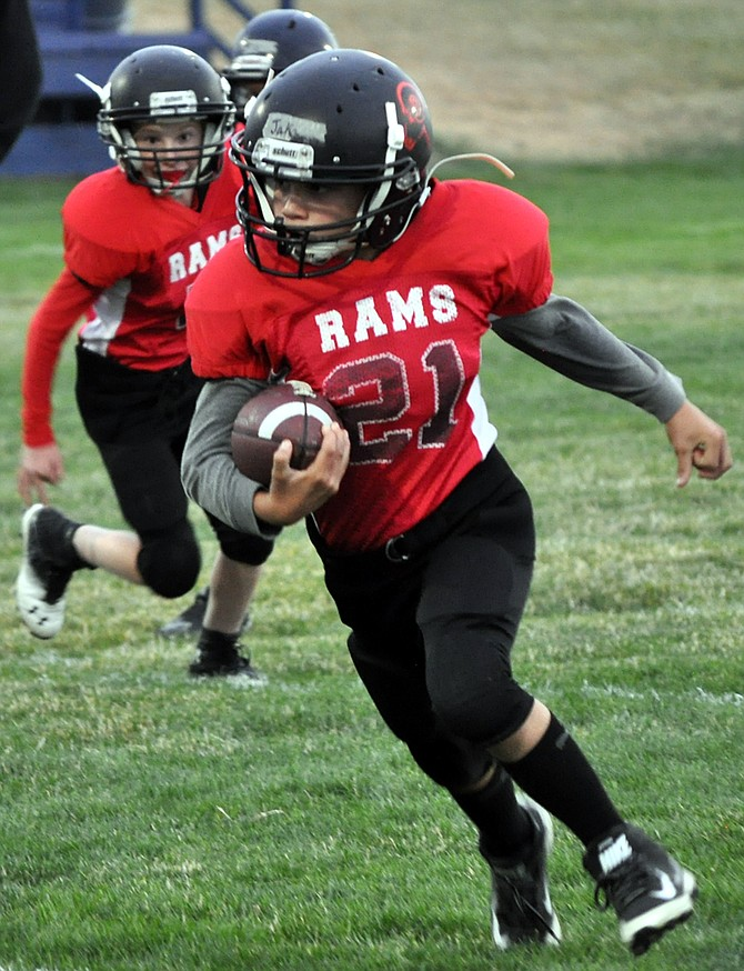 Youth football took to the field at Grangeville High School Thursday evening, Sept. 14, with the fifth-sixth grade teams of Clearwater Valley Rams taking on and beating the Grangeville Bulldogs, 14-0.