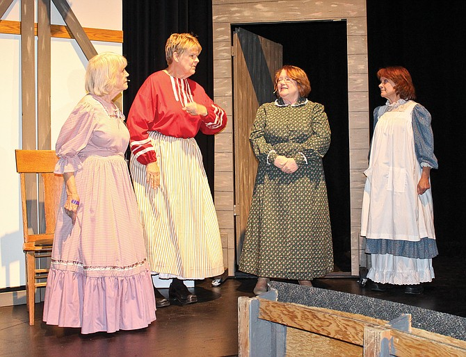 """""""The girls"""" in the Over the Hill Theatricals production of """"Little Women the Musical"""" are, from left, Ann Glover as Beth, Kristi Tuor as Jo, Debbie Mendoza as Meg and Janet Minton as Amy. The play opens Saturday at 7 p.m. in the Sunnyside High School auditorium, 1801 E. Edison Ave."""