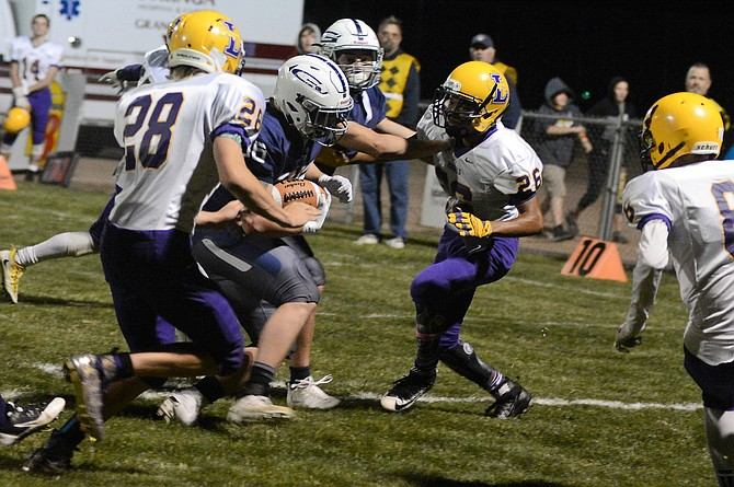 Grangeville's Justin Fogleman scored a touchdown -- the Bulldogs' third during their 48-0 win over the Lewiston JV Thursday night, Sept. 28, at GHS.