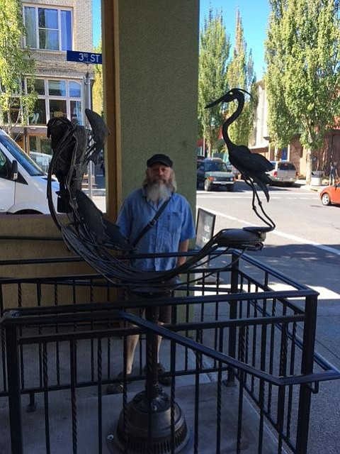"ALAN Root and ""Heron Viewing Spawning Salmon"" in front of the Columbia Center for the Arts, Third and Cascade streets."