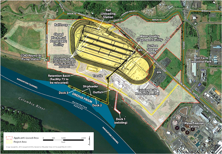 MAP shows a diagram for a coal terminal proposed near Longview, Wash., along the Columbia River.