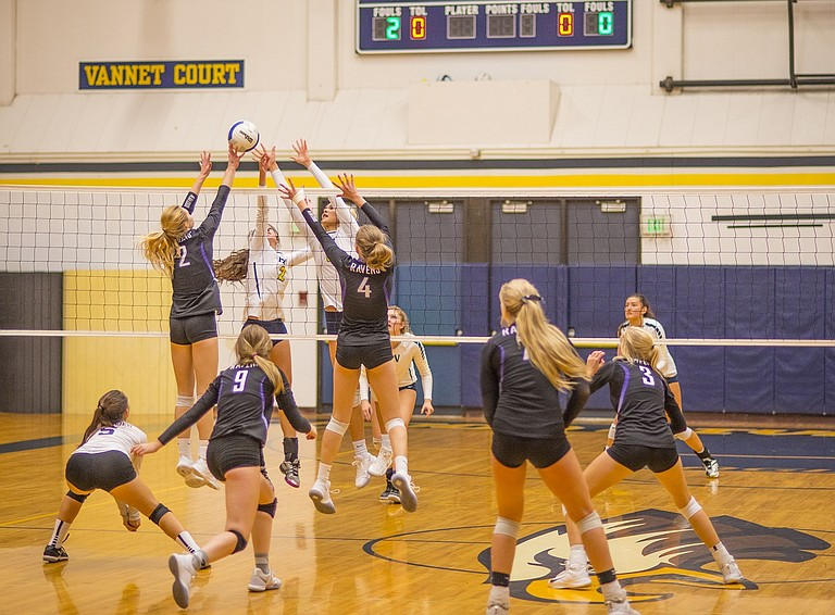 HRV Volleyball lost its first game in five matches this past Saturday. The loss came to Ridgeview, currently ranked eighth in 5A OSAA standings, at HRV's annual volleyball tournament. (Above) Hannah McNerney (2) and Katie Kennedy led the team in blocks against Ridgeview tallying a total of 4.5 between the two starters. The Eagles next game is at home on Tuesday, Oct. 10 against Pendleton.