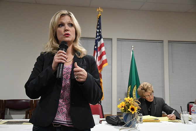 Rep. Jacquelin Maycumber (R-Republic) (left) and Sen. Shelly Short (R-Addy) talked about the facts behind the Hirst decision and how it will impact rural Washington during the Okanogan County Farm Bureau's annual meeting Monday, Oct. 2.