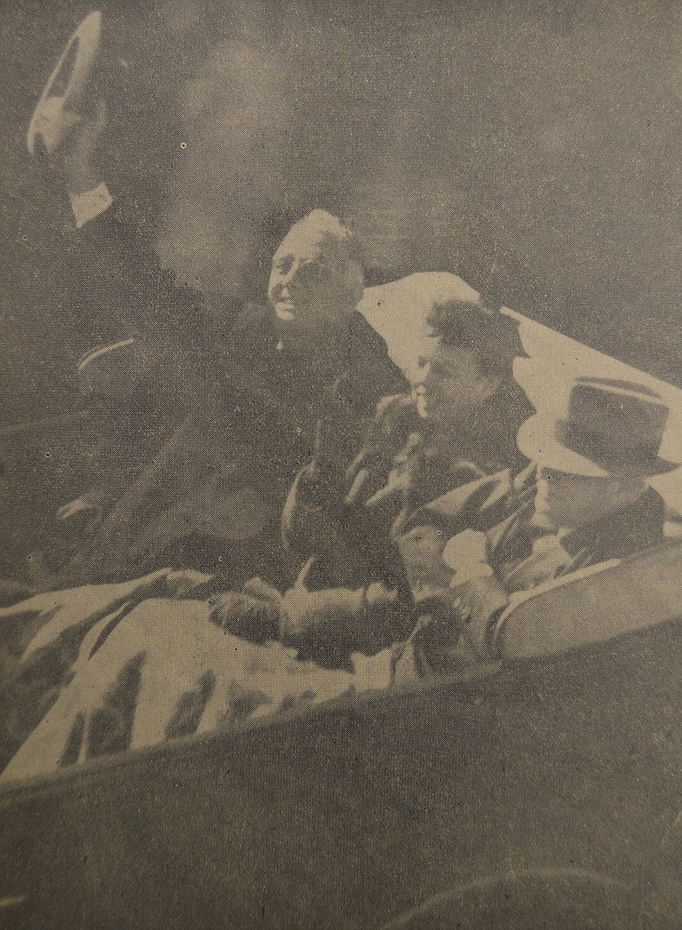 October 1, 1937 — From the Rialto Theater, News' photographer Howard Jones secured this excellent picture of President and Mrs. Roosevelt and Governor Charles H. Martin. Both the president and the first lady were obviously in a happy mood.