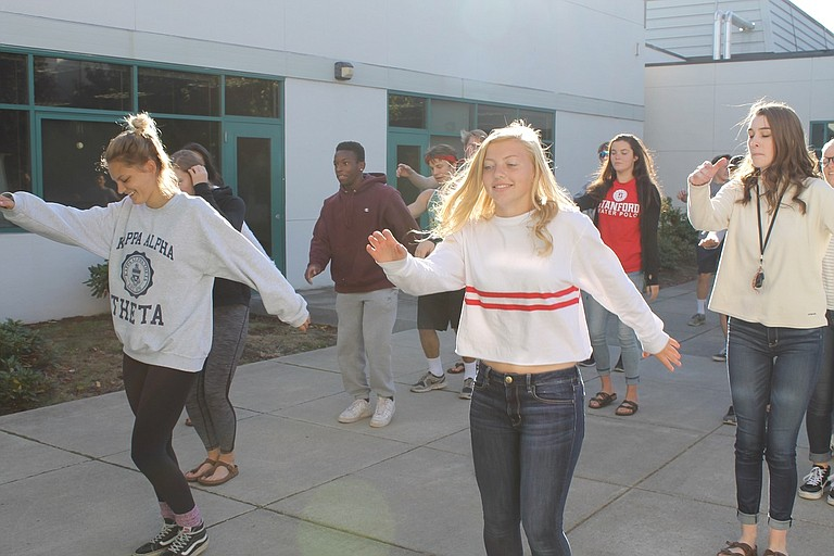 HRVHS Seniors Lauren Trumbull, Jack McCaffrey, Makena Zorza, Rose Finstad, and Carly Wyatt rehearse one of their dances at a Sunday air guitar practice.