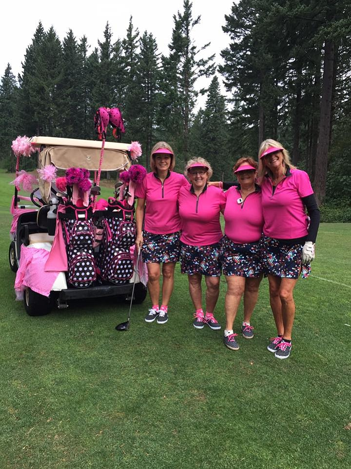 DOLLYWILKINS, Shelli Smith, Theresa Dunn and Deb Hart at this September's Pink Sistas Pink in the Gorge Golf Tournament at Skamania Lodge. The tourney raises funds to send women dealing with breast cancer on retreat.
