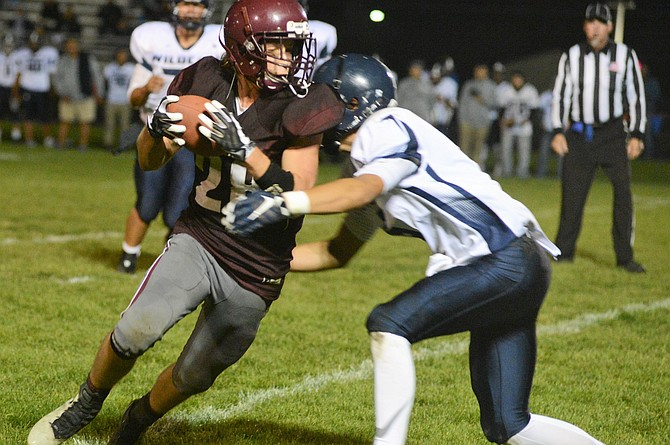 Kamiah's Luke Snyder was a frequent target for Kubs quarterback Kaleb Oatman, including for this catch during the late stages of Kamiah's bid to upstage Whitepine League-leading Lapwai Friday night, Oct. 6.