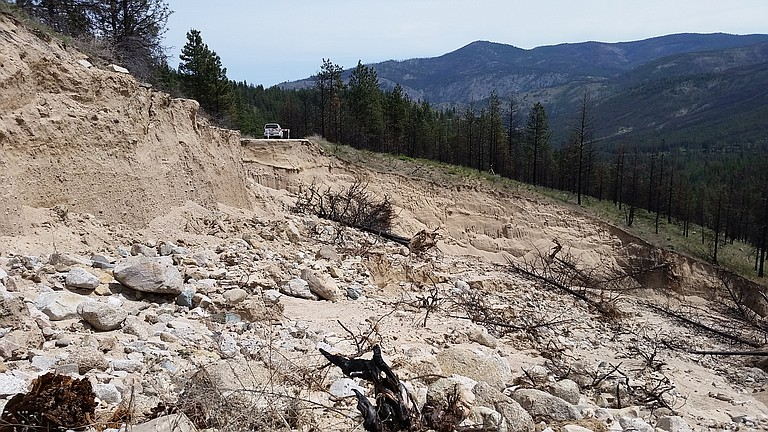 Black Canyon Road No. 4010, near Winthrop, sustained extensive road damage from 2016 flooding.