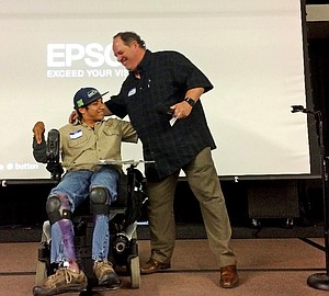 Jonathan Marvel (left) and his employer Brent Clapp were two of the keynote speakers at the Mid-Columbia Employment First Employer/Employee Recognition Event, held Oct. 3 in Hood River.