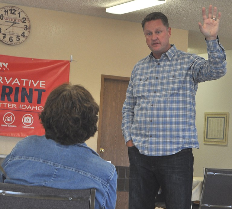 Republican governor candidate Tommy Ahlquist answers a question during a campaign tour meeting at the Grangeville Senior Center last Thursday, Oct. 6.