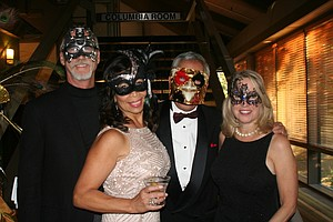 Doug Powrie, Camille Hinman, Gordy Sato and Elaine Powrie at the 2017 United Way Masked Ball.