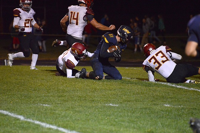 THE EAGLES on offense against Redmond focused on gaining big plays through the air and Tanner Wells (above) was oftentimes on the receiving end. Wells ended the night with a season high 95 yards on nine receptions, also adding an eight-yard receiving touchdown in the third quarter.