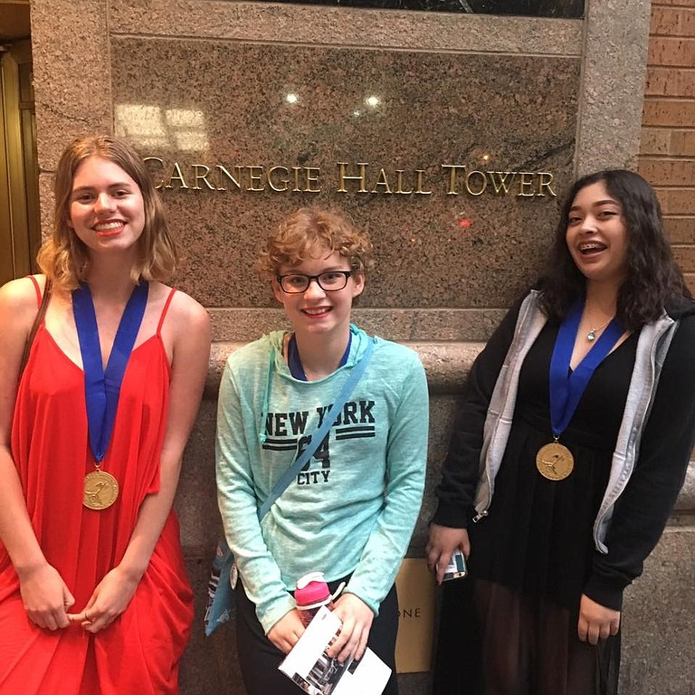 HRVHS art students Allison Thompson, Emily Liri and Emma Vega attend the Scholastic Art awards ceremony June 8 at Carnegie Hall, located in New York City. The three took home Gold Medal honors in the annual art competition — a first for Hood River Valley High School.