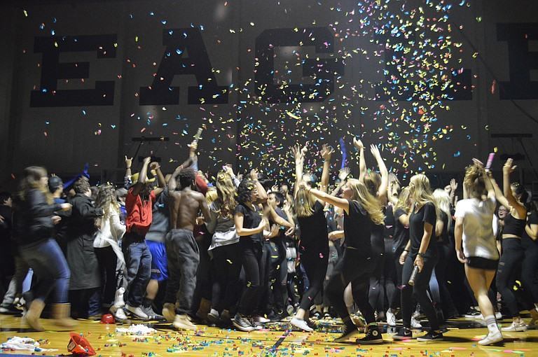 """HOOD RIVER Valley High School's senior class concluded their """"end of the world"""" air guitar performance Thursday with a confetti blast. They came in third overall, behind first place HRV staff and the second place junior class. Freshman came in fourth and sophomores in fifth."""