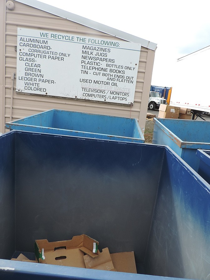 INFORMATION at the Hood River transfer station recycling area makes it clear what can be put into the recycling bins.