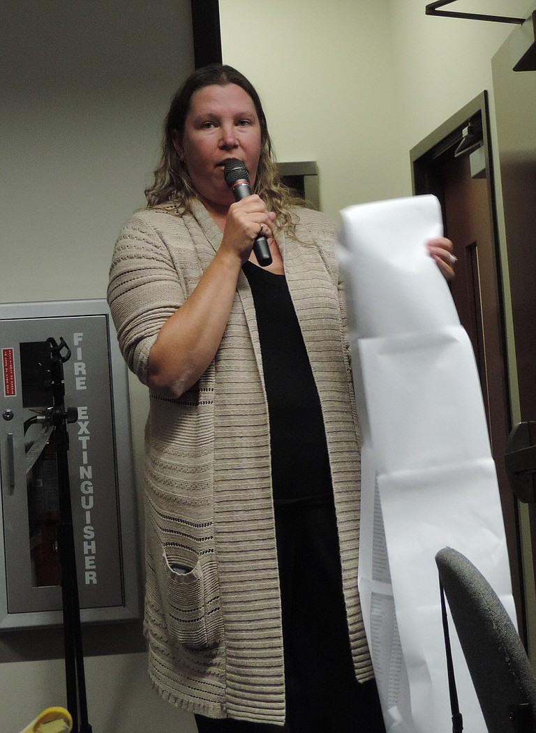 """WESTSIDE resident Kristi Chapman spoke against WACP, presenting a petition she said was signed by """"a lot of people from Hood River and the Gorge."""""""