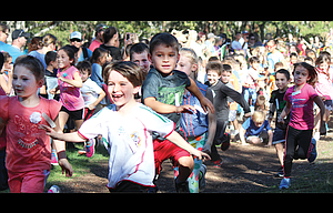 Youth athletes from kindergarten-through-fifth grades, hailing from 12 different schools, participated in the 20th annual Jumpstart Cross Country Meet held on Sept. 26 at Sorosis Park. In all, 405 athletes participated, with Colonel Wright having the most signees at 138.