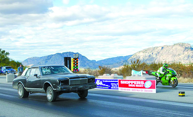 Ken and Warren Brown of Oliver, B.C., line up for a grudge match at Richter Pass Motorplex on Oct. 8 in Osoyoos, B.C.